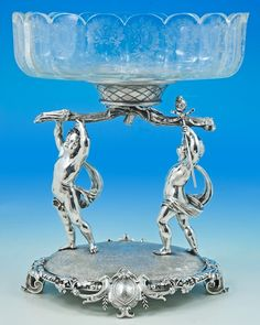 An unusual Victorian silver centerpiece..Hunt and Roskell. London 1882.     19 3/4 inches (50cm) tall   16 inches (41cm) wide   12 1/4 inches 31cm front to back