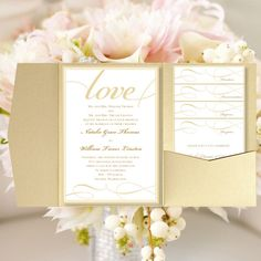 "DIY Pocket Wedding Invitations ""It's Love"" Champagne Gold Printable Card Templates ALL Colors All Seasons Make Your Own DIY You Print"