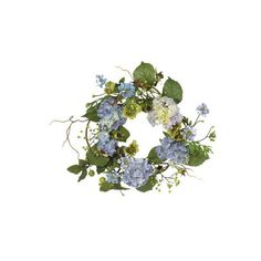"""Hydrangea Wreath Blue - 20"""" ($46) ❤ liked on Polyvore featuring home, home decor, floral decor, flowers, flowers / foliage, artificial flowers, decorative accents, blue hydrangea wreath, blue hydrangea silk flowers and faux flowers"""