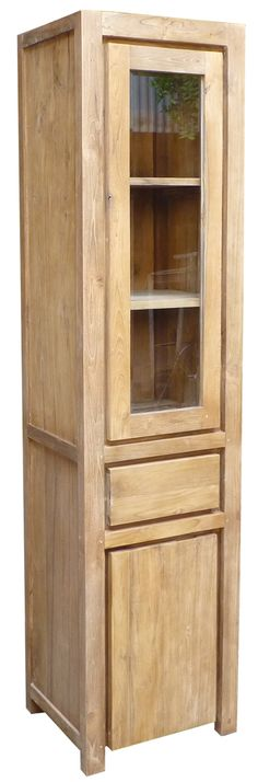This cupboard is perfect for use as a display case, china cabinet, bookcase and more.  Made from 100% reclaimed teak wood.  Rustic and unique! #teak #furniture #rustic #rusticfurniture #homedecor #cabinet #cupboard #displaycase #bookcase