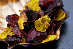Vegetable Chips - recipes for Kale Chips, Smoked Paprika Carrot And Parsnip Chips, Curried Sweet Potato Chips, Simple Salted Beet Chips and Chili-Lime Plantain Chips AND many seasoning suggestions