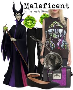 Casual outfit inspired by Maleficent from Sleeping Beauty!
