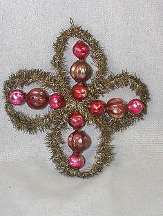 Antique Christmas Tree Glass Ornament - Gold Garland 4 Leaf Clover with Beads