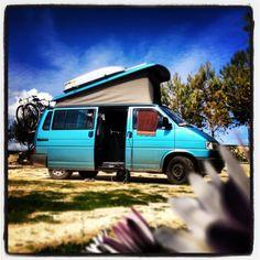 This is where we live: our van, Mork. (Mork Parked near Otranto in Italy) #Westfalia van