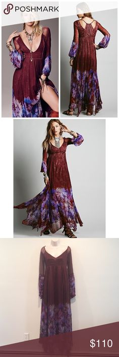 NWOT Free People Red Dazed Dream Maxi dress Crinkled chiffon maxi dress with a beautiful purple red print  Color Merlot Ombre pattern.  Low V neck.  Hidden side zip.  Half slip.  MSRP $298. See photo for crossed out tag. Additionally, the thin straps are a little bit loose but could be fixed with a few stitches. Really a beautiful statement dress! Free People Dresses Maxi