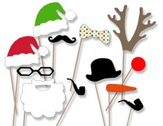 Photo Booth Props Holiday Christmas- Santa Rudolph Elves Frosty the snow man - DIY printable