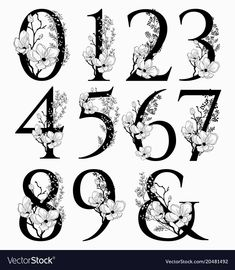 Vector Hand Drawn floral Numbers monogram or logo. Numerals with Flowers and Branches, Cherry Blossom. Floral Font, Floral Design, Vector Hand, Vector Free, Number Tattoos, Number Tattoo Fonts, Font Tattoo, Number Fonts, Number Drawing