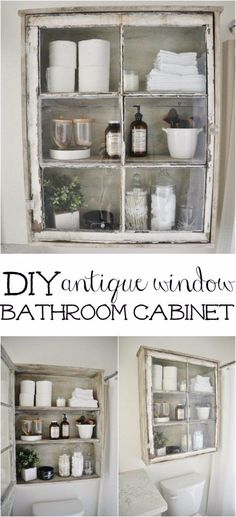 DIY Bathroom Decor Ideas - DIY Antique Window Bathroom Cabinet - Cool Do It Yourself Bath Ideas on A Budget, Rustic Bathroom Fixtures, Creative Wall Art, Rugs, Mason Jar Accessories and Easy Projects http://diyjoy.com/diy-bathroom-decor-ideas
