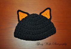 Crochet Halloween Black Cat Hat  Cute Lil' by SillyMonkeysProps, $12.00