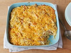 Ree's chicken and spaghetti casserole is pure comfort food. She makes it easy to eat by breaking the spaghetti into pieces.