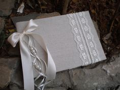 Romantic guestbook - Linen fabric and lace - Vintage Wedding guest book - Unique guest book - Best bridal shower gift
