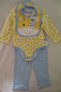 Baby Girl First Impressions 3pc Set Size 6- 9 Giraffe Style Yellow/Blue New  #FirstImpression #Everyday