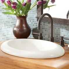 Native Trails Stone Bathroom Sinks - NativeStone Cuyama NSL2115-P - Pearl - Wave Plumbing