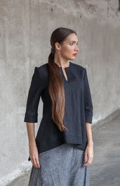 TOP, Boho Styled Black Linen Top, Tunic Top With Short Sleeves, Loose-Fitted Comfortable  High Low Top, Black linen Tunic, Linen Dress