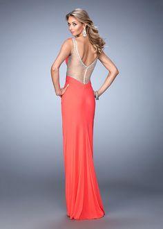 La Femme 21886 Sparkling Jeweled Sheer Side Prom Gown