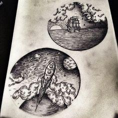 #tattoo sketches by @horikola at #thecirclelondon  (at The Circle Tattoo London) #blackwork
