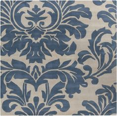 6' x 6' Falling Leaves Damask Slate Blue & Off-White Square Wool Area Throw Rug Diva At Home http://www.amazon.com/dp/B00CIXYOAE/ref=cm_sw_r_pi_dp_2P-fwb1AB2SEF
