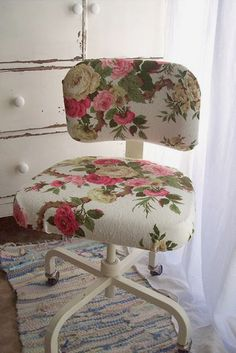 I love this for an office chair! Take any boring office chair and turn it into something beautiful with vintage style fabric