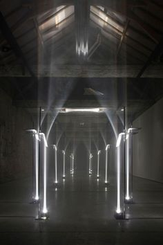 TROIKA - MAKING ARCHITECTURE OUT OF LIGHT. This site specific installation by the London based design studio, Troika was on exhibit last month in Kortrijk, Belgium for the international biennial - Interieur 2012.: