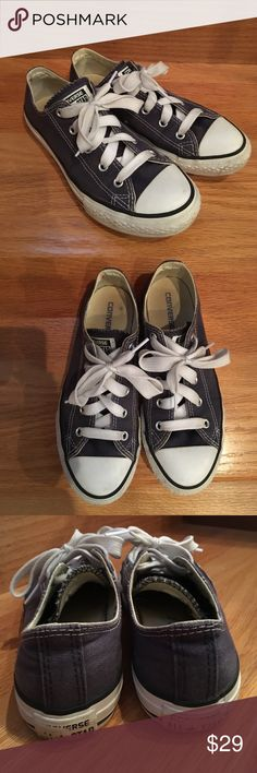 • Converse • Converse All - Star sneakers. YOUTH SIZE 3. I wear a women's 6 and they fit perfect. Demon blue color. Great used condition. Converse Shoes Sneakers