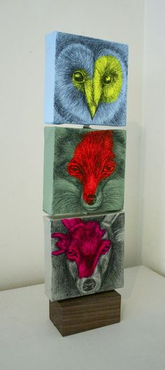 'Mini Totem', wood, canvas, spray paint, acrylic and pencil, 45x12.5x6cm (2013) by Louise McNaught