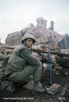 February Hue's Citadel - Delta co, Battalion, Marines launched final attack on Dong Ba Tower, defending the Hue's Citadel. First 12 men that attacked. Photo by John Olson Usmc, Marines, Hue Vietnam, Good Morning Vietnam, Vietnam War Photos, War Photography, American War, American History, Indochine