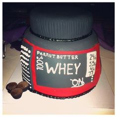 This is awesome! Grooms Cake of a Protein Tub.