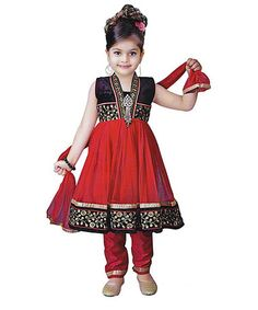 Red & Black Embroidered Salwar Suit - Infant & Toddler & Girls by Vasundhara Fashions #zulily #zulilyfinds