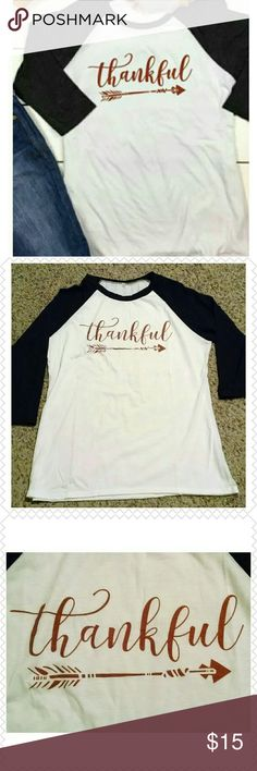 Thankful Baseball Tee I ordered this and it doesn't fit. This baseball tee would be great during the holidays. Side note..... Even though it's a XXL it is a fitted tee. Tops