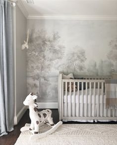 Grisaille Scenic Mural Wallpaper by Susan Harter Muralpapers - Scenic Wallpaper, Toile Wallpaper, Nursery Wallpaper, Nursery Murals, Hand Painted Wallpaper, Luxury Nursery, Grisaille, Interior Decorating, Interior Design