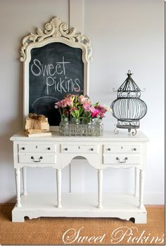 """""""Sweet Pickins"""".. Cute idea for spring.  Maybe have fresh flowers in a vase near by."""
