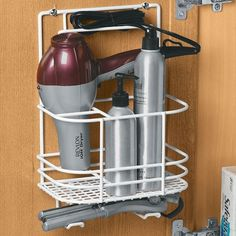 use a shower caddy to organize your Blow-dryer, hair care, etc