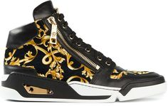 Versace baroque hi-top trainers, Black and yellow calf leather baroque hi-top trainers from Versace featuring a lace-up front fastening, a round toe, side zip details, a white rubber sole and a gold-tone plaque at the side.