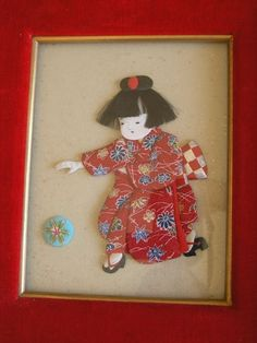 Vintage Japanese Shadow Box Cut Ichimatsu Geisha Girl Doll Playing with Ball | eBay