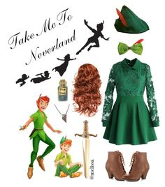 """""""×I am a lost boy from Neverland. Usually hanging out with Peter Pan×"""" by simply-melissa ❤ liked on Polyvore featuring WALL, Chicwish, Mojo Moxy and Disney"""