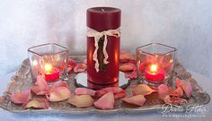 1 pillar. two votives. Donna's Designs: Decorating for Valentine's Day