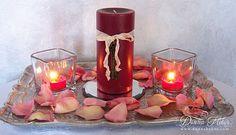 1 pillar. two votives. Donna's Designs: Decorating for Valentine's Day