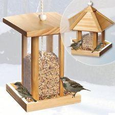 Holz Vogelhäuschen Vogelfutterhäuschen Vogelfutter Haus Futterhaus Futterspender