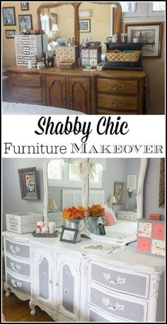 With both chalk paint Behr paint and a little bit of distressing this bedroom furniture went from dark and outdated to shabby chic gorgeous! Terrific inspiration for bedroom makeovers on a budget with yard sale treasures DIY and repurposing projects.
