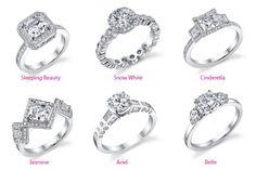 Disney princess engagment rings. Pretty!