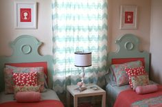 Coral, pink, and blue girls room - like this color combination.  Ladybugs?