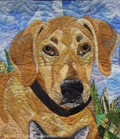 """closeup, """"Cassidy, Chase, Mashatu and JasPurr"""" by Nancy S. Brown. 2012 Pacific International Quilt Festival. Photo by Quilt Inspiration."""