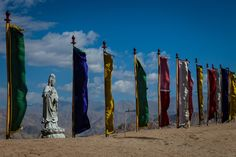 Flags in the wind - peaceful meditation 🙏 place around Mahabodhi International Meditation Centre. by Andrea Schieber Meditation Center, Leh, Flags, Centre, Peace, India, Outdoor Decor, Sobriety, Room