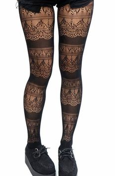 0a9217c5b1817 Gothic Victoria Crochet Lace Layer Fishnet Tights /Pantyhose Gothic  Outfits, Indie Outfits, Trendy