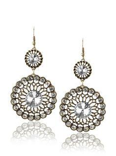 Leslie Danzis Antique Gold Twin Circle Dangle Earrings