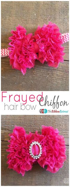 Frayed Chiffon Grass Hair Bow - The Ribbon Retreat Blog