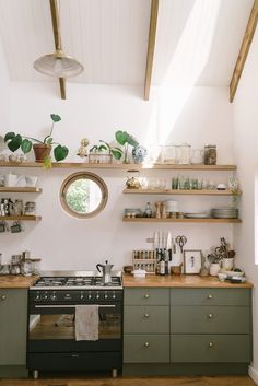 Kitchen / Sunbird Cottage Before & After · Miss Moss An inspiring before and after home renovation in a seaside suburb of Cape Town by photographers Bruce & Rebecca Meissner. Home Decor Kitchen, New Kitchen, Home Kitchens, Kitchen Ideas, Boho Kitchen, Green Kitchen Walls, Luxury Kitchens, Cottage Kitchens, Farmhouse Kitchens