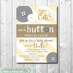 Baby Shower Invitation..Cute as a Button with by GenerationsInk