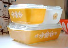 vintage pyrex refrigerator dish sets - butterfly gold