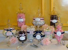 apothecary jar decorating ideas | Not my friends wedding but very similar to this Candy Buffet.